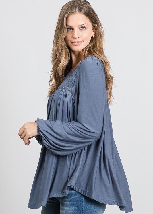 Steel Blue Lace Flowy Top