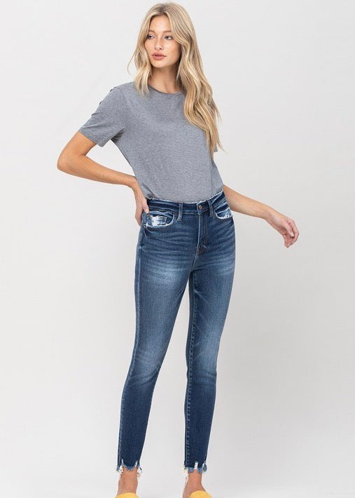 Flying Monkey Distressed Pocket & Hem Detail Skinny Jeans