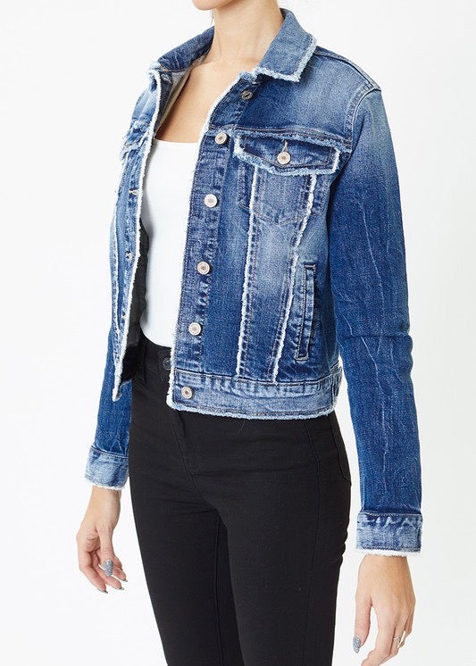 Kan Can Frayed Seams Jean Jacket