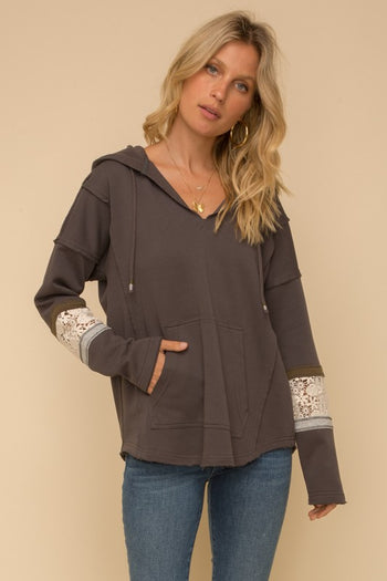 Charcoal Gray Crochet Lace Detail Hoodie