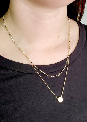 Two Layer Gold Black & White Bead Necklace