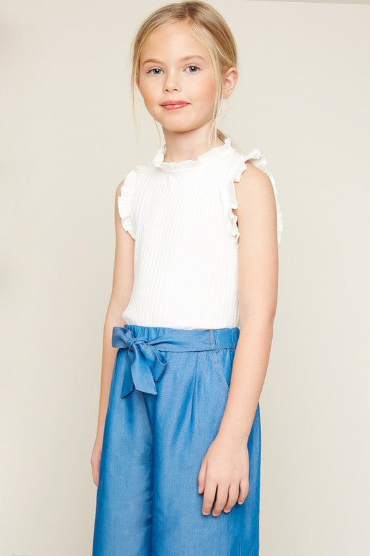 Girls Ribbed Ruffle Tank