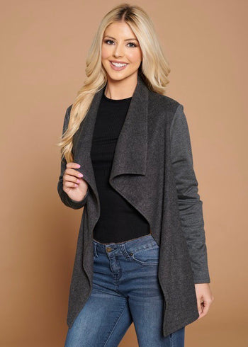 Brushed Draped Blazer Jackets - 2 Colors!