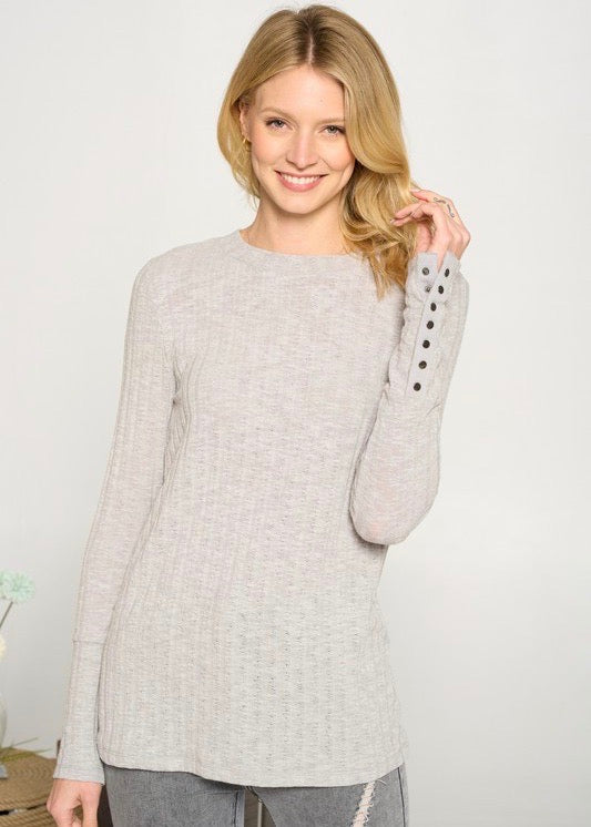 Snap Button Cuff Henley Tops - 2 Colors!