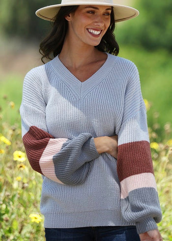 Gray Oversized Stripe Sleeve Sweater
