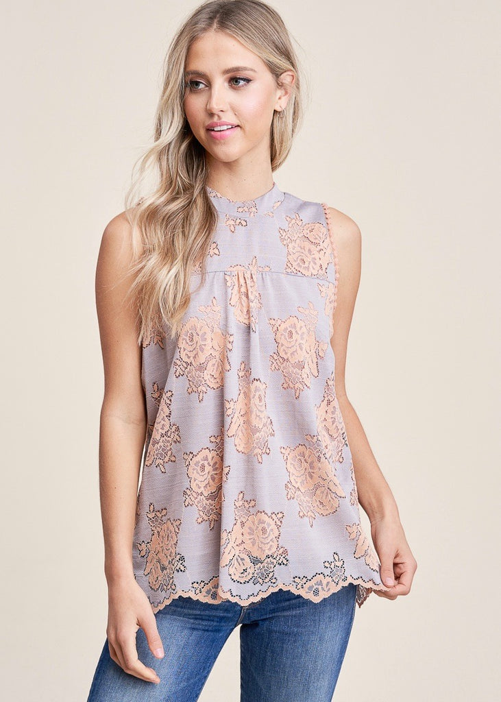 Gray and Peach Lace Tank