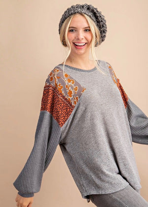 Gray Printed Sleeve Top