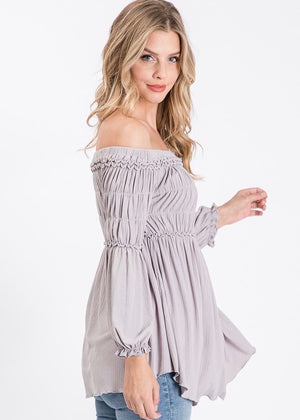 Gray Smocked Off The Shoulder Top