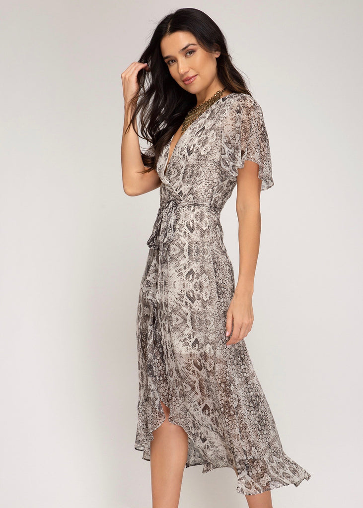 Gray V-Neck Snake Dress