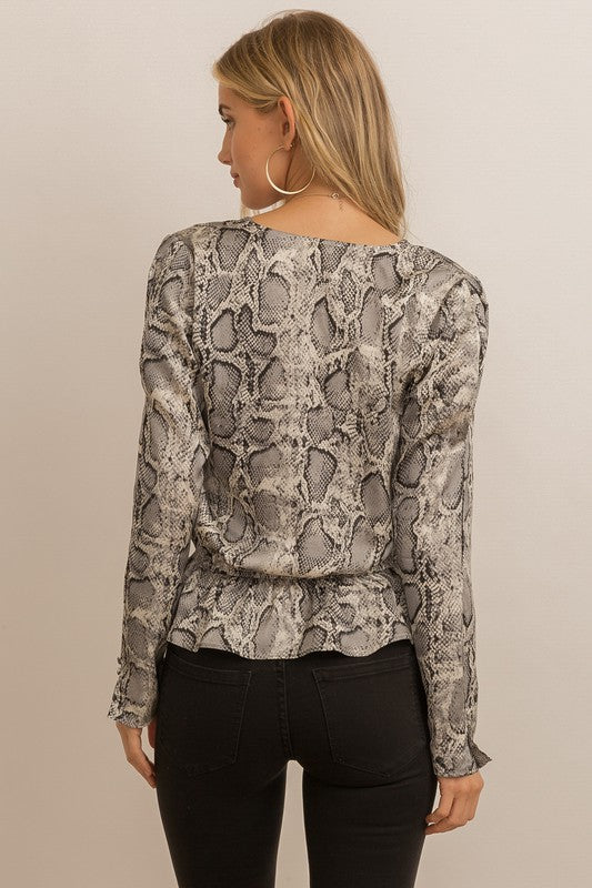Snake Peplum Top