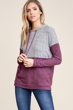 Grey & Plum Color Block Hoodie