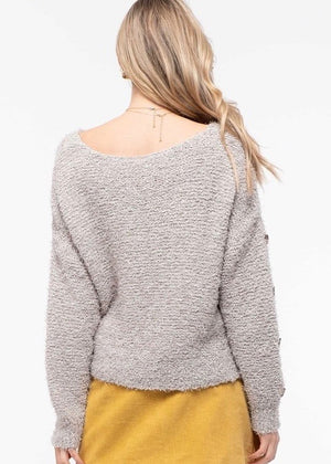 Gray Fuzzy Button Sleeve Tie Sweater