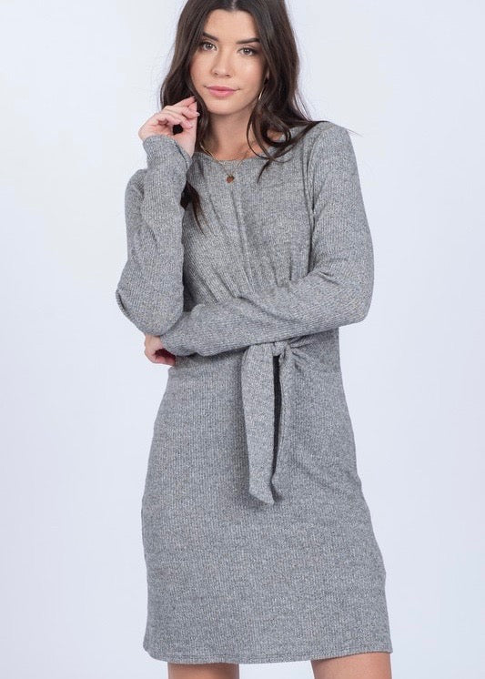 Soft Tie Front Dress - Gray