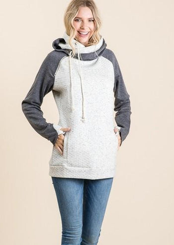 Heather Quilted Thumbhole Hoodie