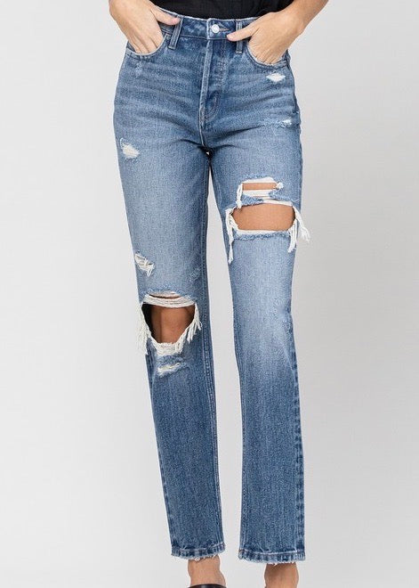 Vervet by Flying Monkey Super High Rise Beverley Hidden Button Fly Straight Jeans