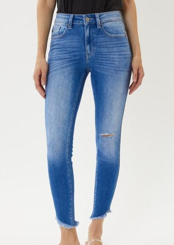 Kan Can High Rise Angled Frayed Hem Jeans