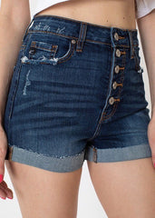 Kan Can High Rise Button Fly Distressed Shorts