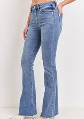 Just USA by Just Black Denim High Rise Medium Wash Frayed Flare Jean