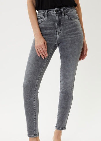 Kan Can High Rise Light Gray Skinny Jeans