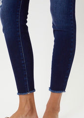 Kan Can High Rise Frayed Waist Double Button Dark Jeans