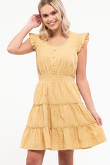 Summer Honey Flutter Shoulder Dress