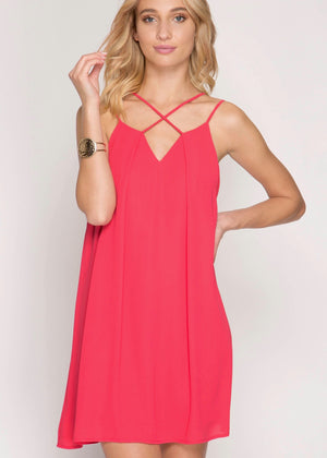 Hot Pink Criss Cross Dress