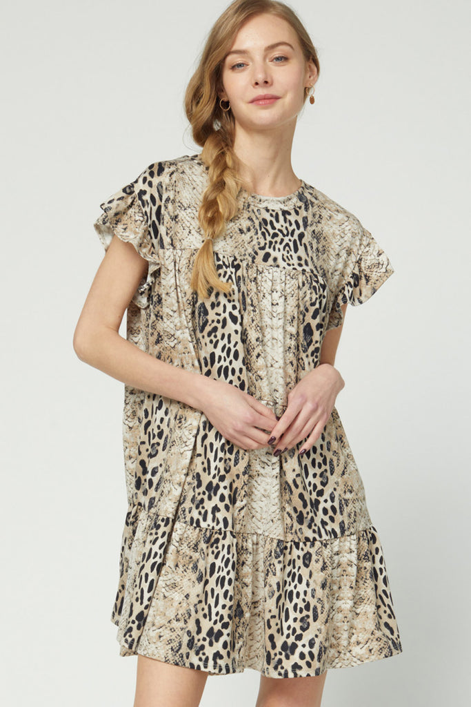 Buttery Soft Animal & Snake Flutter Sleeve Dress
