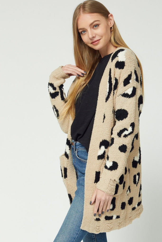 Distressed Soft Animal Cardigan - 2 Colors!