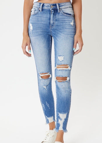 Kan Can High Rise Light Wash Destructed Ankle Skinny Jeans
