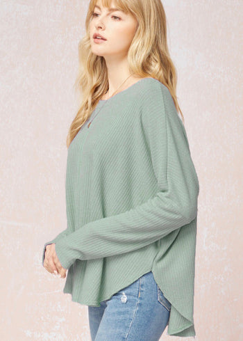 Dusty Sage Flowy Ribbed Scoop Top