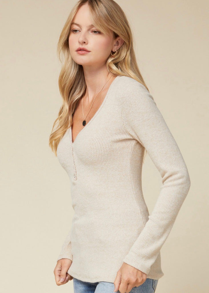 Soft Ribbed Long Sleeve Button Top - Oatmeal