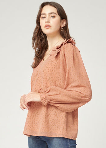 Dusty Peach & Mocha Animal Ruffle Shoulder Top