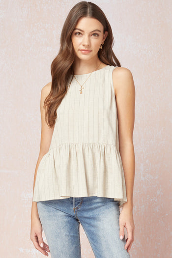 Button Back Linen Striped Tank