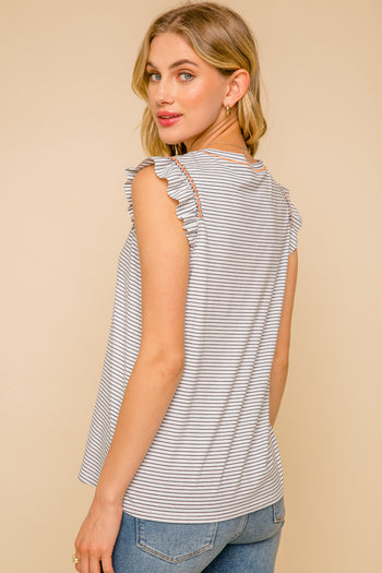Navy Striped Embroidered Ruffle Shoulder Top