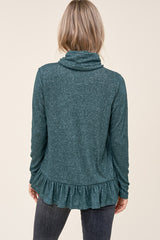 Soft Green Ruffle Turtleneck