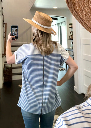 Relaxed Fit Blue Striped Zip Back Top