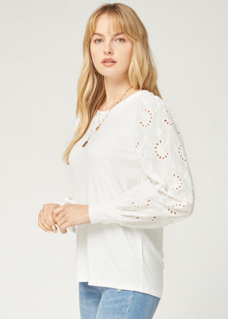 White Eyelet Sleeve Top