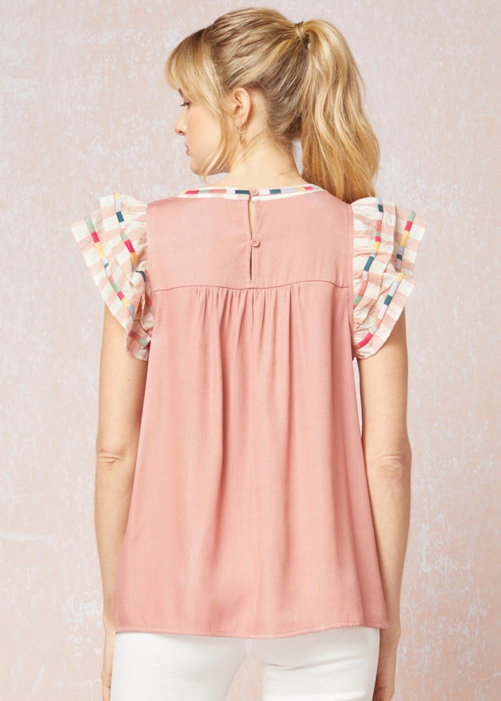 Dusty Rose Embroidered Top