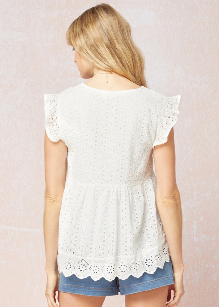 Eyelet Flutter Sleeve Tops - 2 Colors!