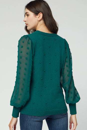 Hunter Green Swiss Dot Sweater