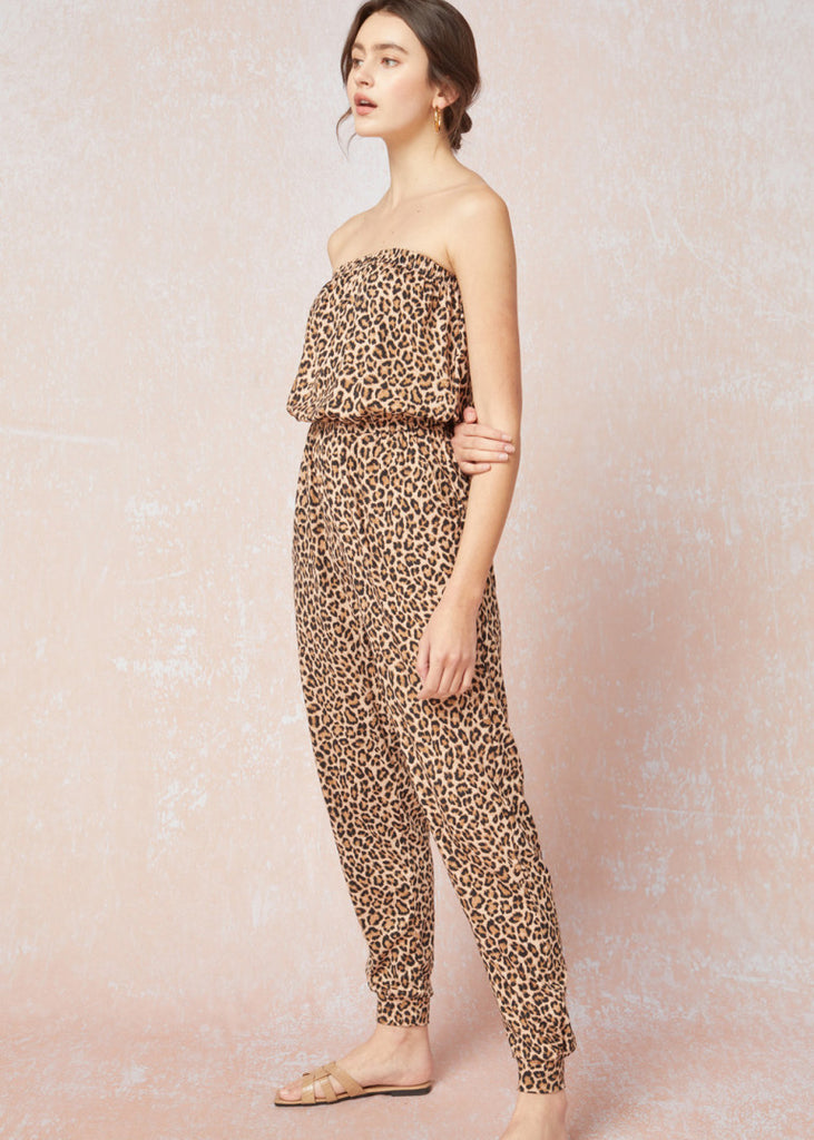 Buttery Animal Strapless Jumpsuit
