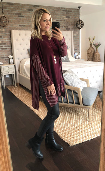 Out & About Crewneck Poncho Tops - 2 Colors!