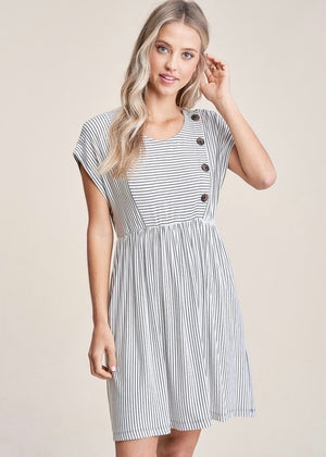 Ivory and Black Striped Pocket Dress