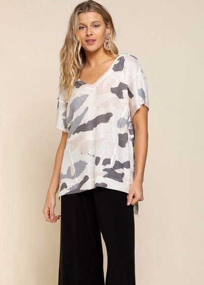 Oversized Knit Camo Top