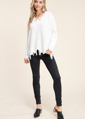 Ivory Destructed Sweater