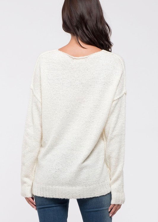 Reverse Seam Pullover - Ivory