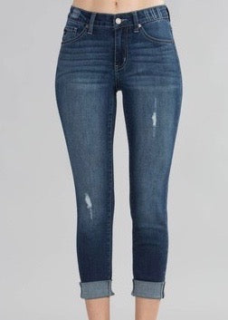Kan Can Mid Rise Cropped Cuffed Jeans