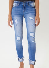 Kan Can Distressed Destructed Folded Hem Light Wash Jeans