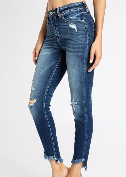 Kan Can Destructed High Low Frayed Hem Jeans