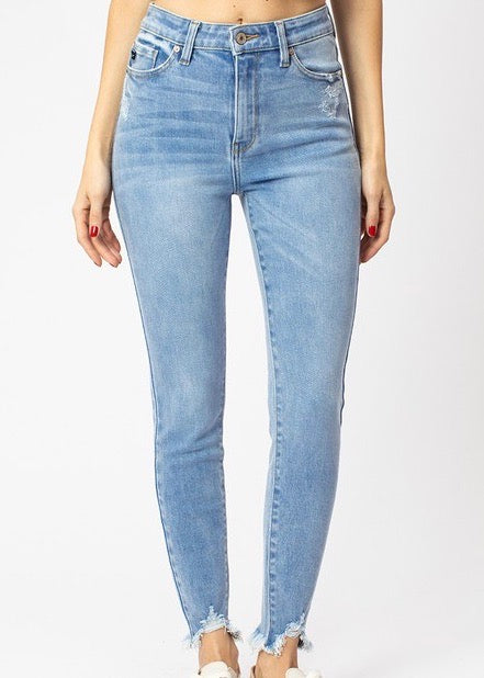 Kan Can Distressed Chewed Hem Light Wash Jeans